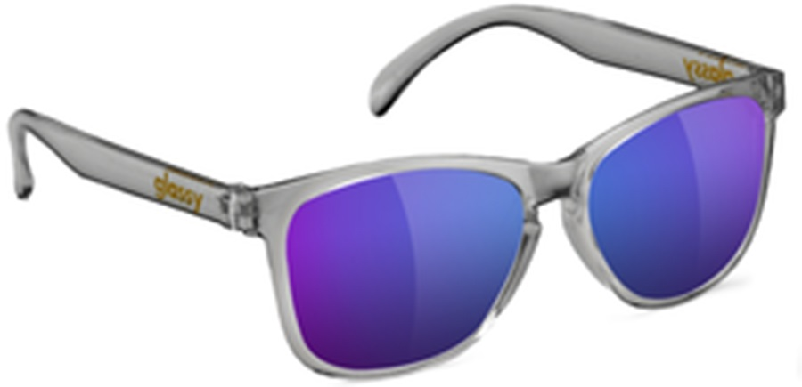 Glassy Sunhaters Deric Purple Mirror Lens Sunglasses, Clear Grey