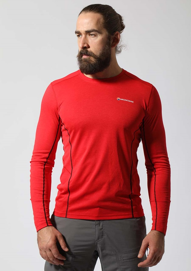 Montane Adult Unisex Dart Long-Sleeved T-Shirt, L Alpine Red