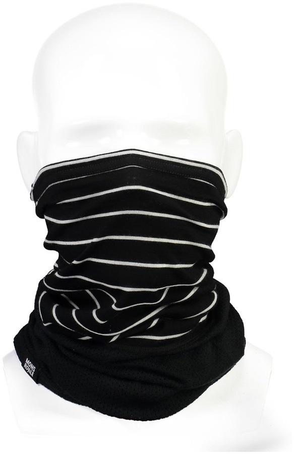 Mons Royale Fifty-Fifty Merino Wool Mesh Neck Warmer Black/Thin Stripe