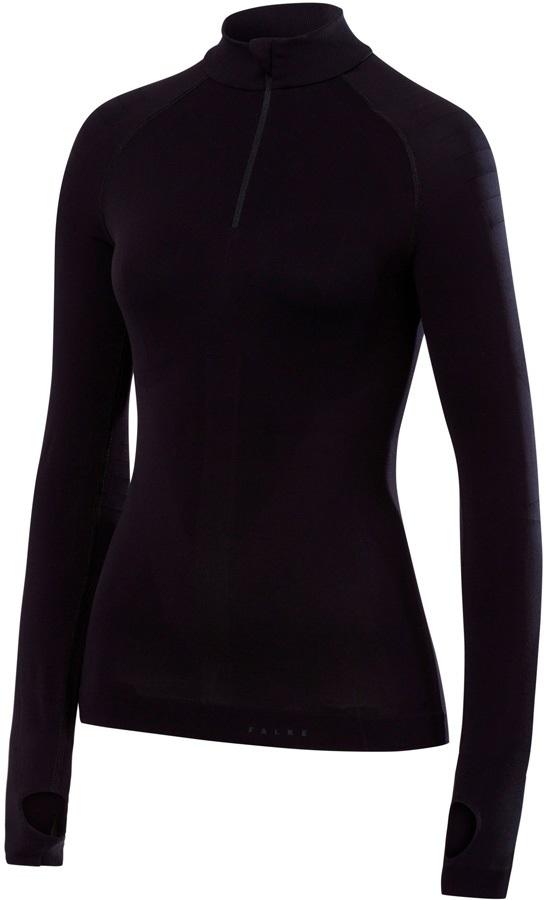 Falke Womens Women's Zip Long-Sleeved Shirt Base Layer Top, S Black