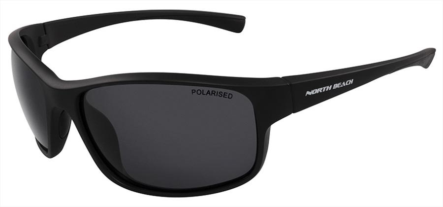 North Beach Plaice Grey Polarised Sunglasses, Matte Black