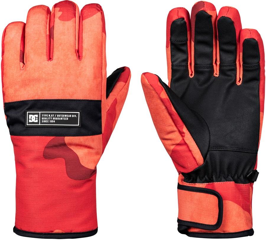 DC Franchise Ski/Snowboard Gloves, S Red Orange DCU Camo