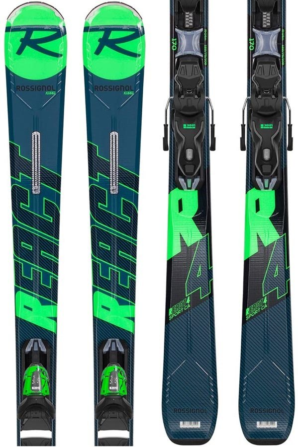 Rossignol React R4 CA Xpress 10 Skis, 154cm Blue/Green 2020