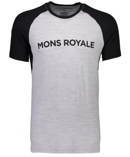 Mons Royale Temple Raglan Tech Merino Wool T-Shirt, M Black/Grey Marl