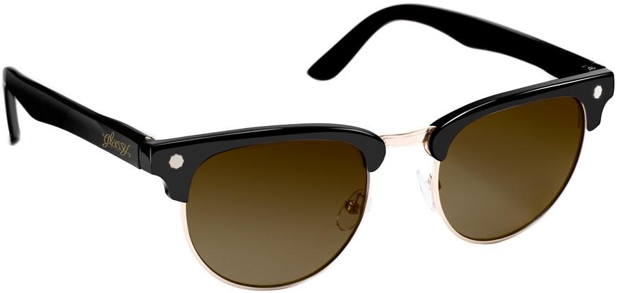 Glassy Sunhaters Morrison Sunglasses Black/Gold Brown Lens
