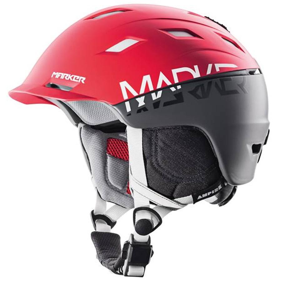 Marker Ampire Ski/Snowboard Helmet, S, Red/Steel Grey