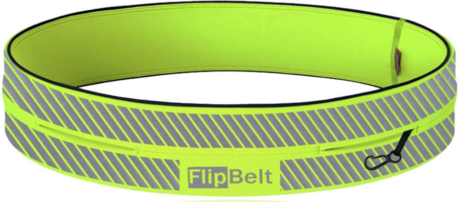 FlipBelt Reflective Running Belt, L Neon Yellow