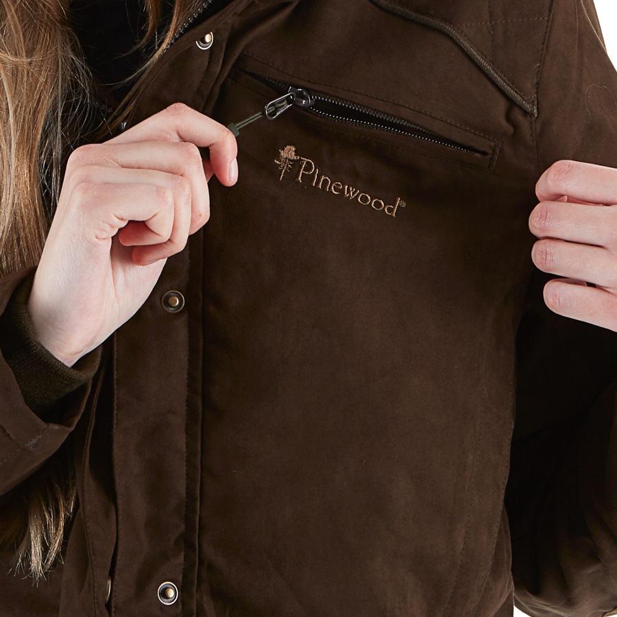 Pinewood Victoria Women's Waterproof Parka Jacket, L Suede Brown