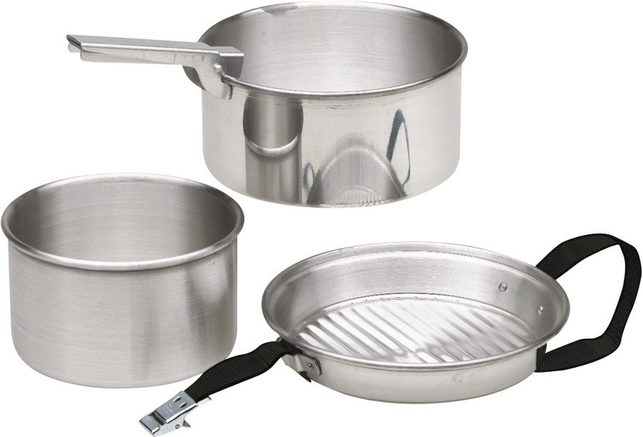 Bo-Camp Activa Cookware Set Classic Camping Cooking Pots, Silver