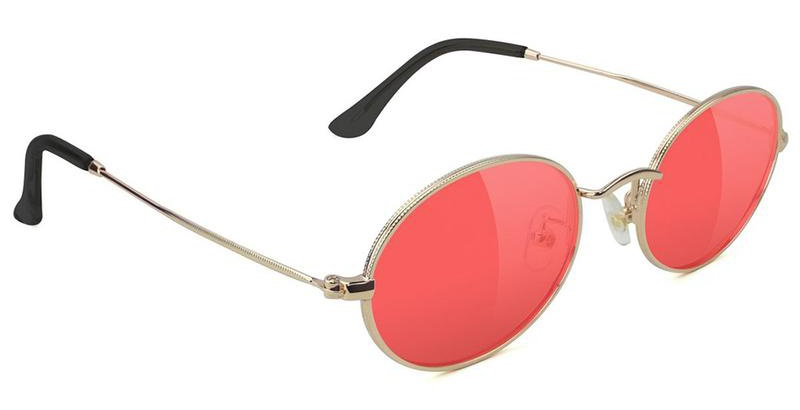 Glassy Sunhaters Stark Red Lens Sunglasses, Gold