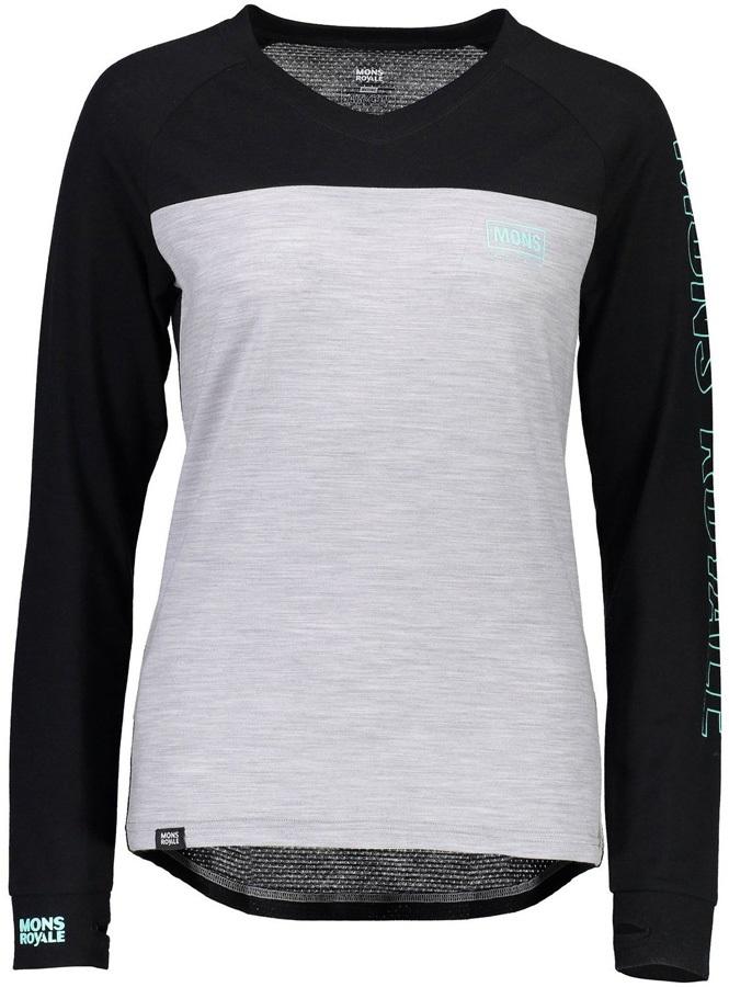 Mons Royale Phoenix Long Sleeve Women's Merino Wool Top, S Black/Grey