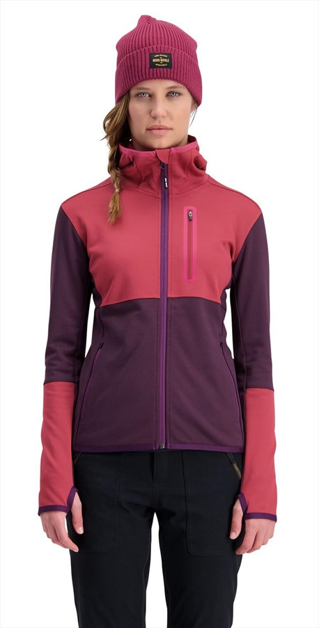 Mons Royale Approach Tech Mid Hoody Women's Merino Midlayer S Eggplant