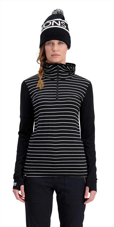 Mons Royale Cornice Hood Women's Merino Thermal Top S Black Stripe