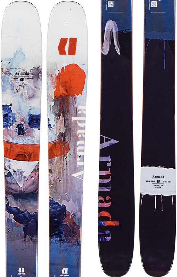Armada Adult Unisex ARV 106 Ski Only Skis, 188cm Black/Orange 2020