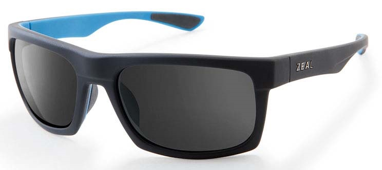 Zeal Drifter Sunglasses Matte Black Azure Dark Grey