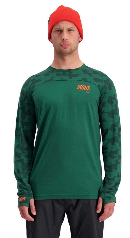 Mons Royale Yotei Tech Long Sleeve Merino Wool Top L Pine Camo Camo
