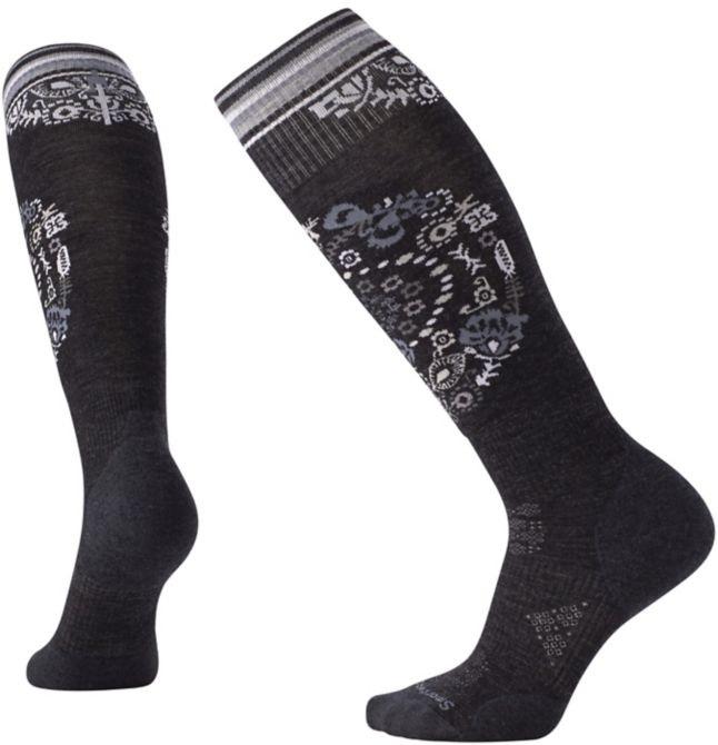 Smartwool PHD Ski Light Elite Pattern Women's Ski Socks, L Charcoal