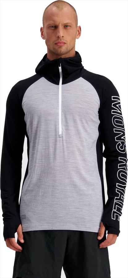 Mons Royale Temple Tech Hood Merino Thermal Top, XL Black/Grey Marl