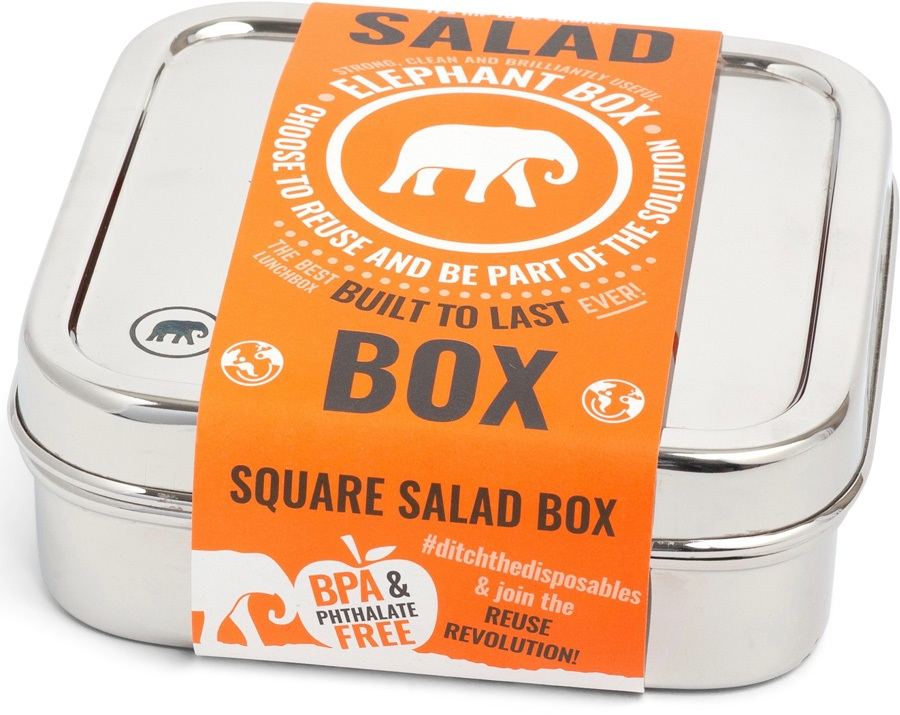 Elephant Box Square Salad Box Stainless Steel Food Container, 600ml