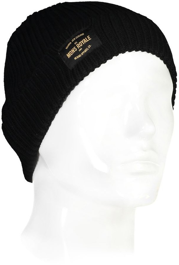 Mons Royale Fisherman's Beanie Merino Wool Hat, Black