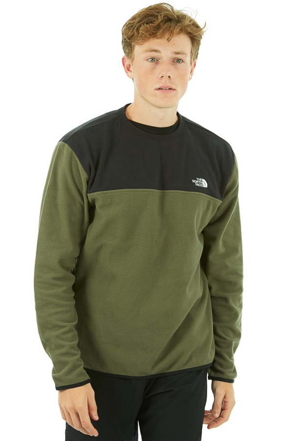 The North Face TKA Glacier Fleece Crew Pullover, S Green/Black