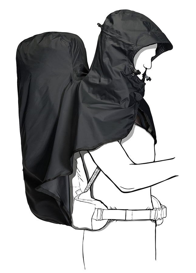 Jack Wolfskin Raincover Hoody Rain Poncho With Backpack Cover, 30-45L