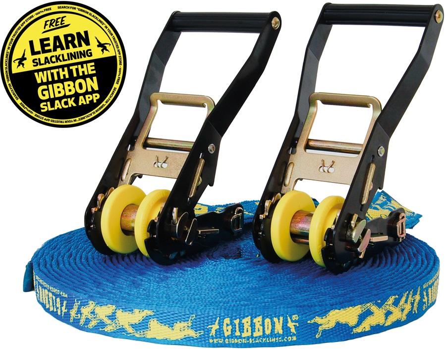Gibbon Tube Line Slackline Set 18m / 60ft Blue/Yellow