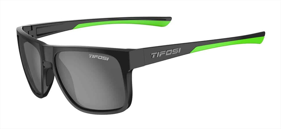 Tifosi Swick Smoke Polarized Sunglasses Satin Black/Neon