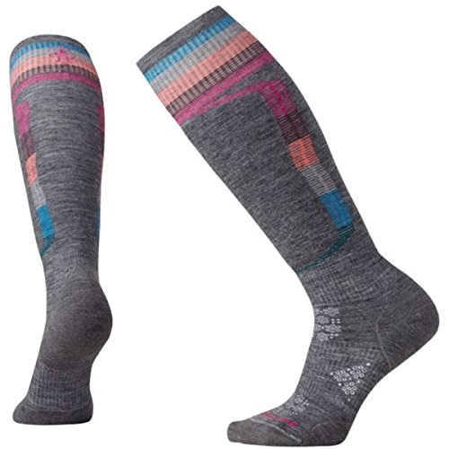 Smartwool PHD Ski Light Elite Pattern Women's Ski Socks, L Medium Grey