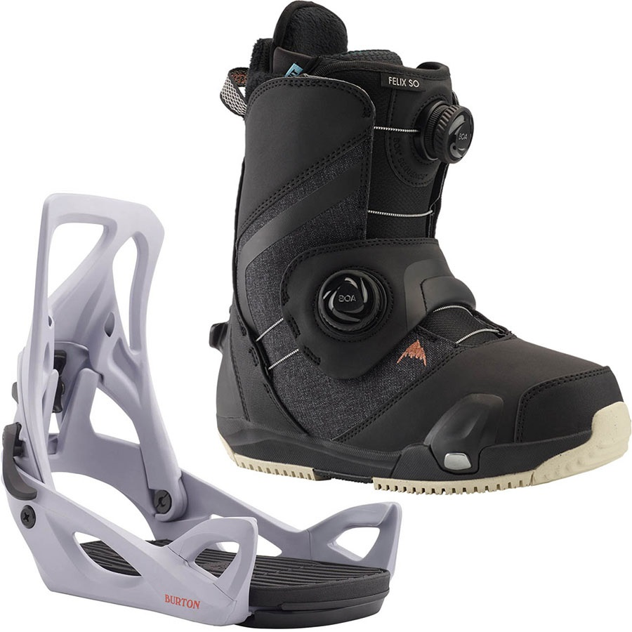 Burton Felix Step On Womens Snowboard Binding & Boots UK 5 Black Lilac