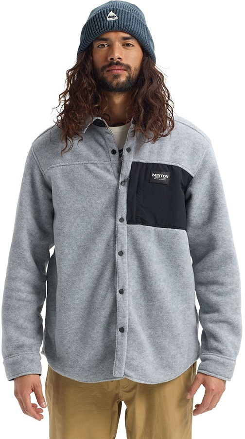 Burton Hearth Snap-Up Ski/Snowboard Fleece Shirt, L Grey/Black