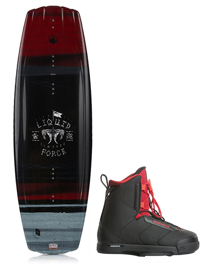 Liquid Force Classic | Hitch Wakeboard Package, 142 | 7-9 Black 2019