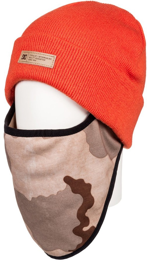 DC Variable Face Warmer Ski/Snowboard Beanie Hat, One Size Red Orange