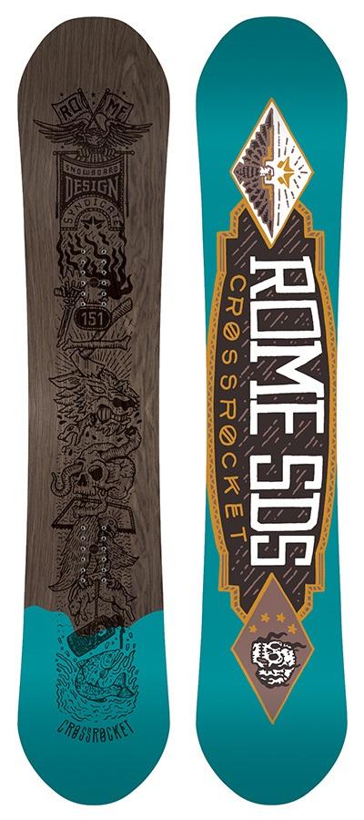 Rome CrossRocket Reverse Camber Snowboard, 154cm 2017 Returned