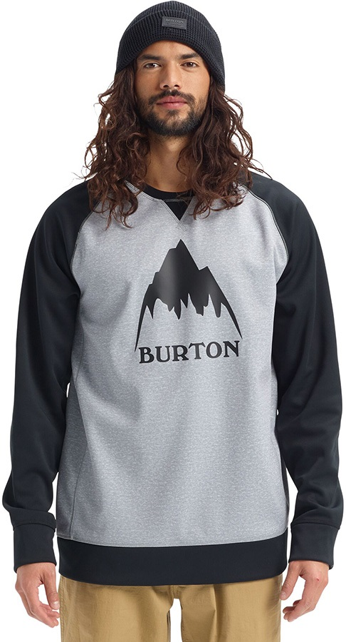 Burton Crown Bonded Crew Ski/Snowboard Sweater, S Grey/Black
