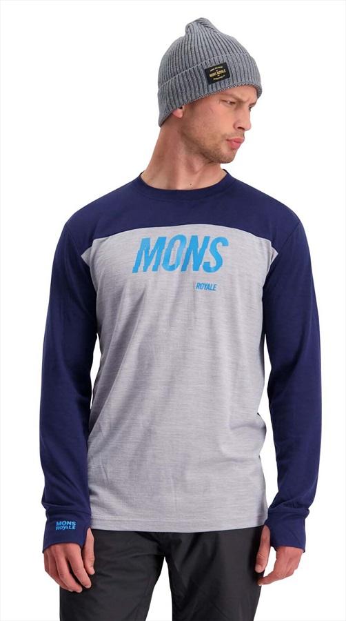 Mons Royale Yotei Tech Long Sleeve Merino Wool Top L Navy/Grey Marl