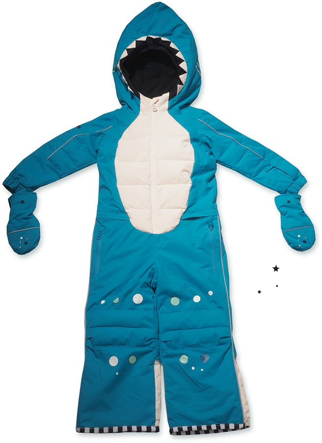 WeeDo Shark Snow Suit & Mitts Kids Insulated Snow Onesie, 2-4 Years