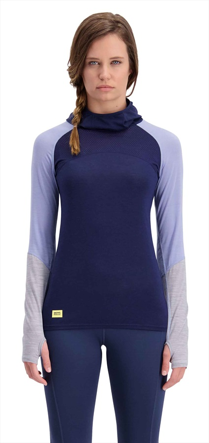 Mons Royale Bella Tech Flex Hood Merino Top M Navy/Blue Fog/Grey Marl