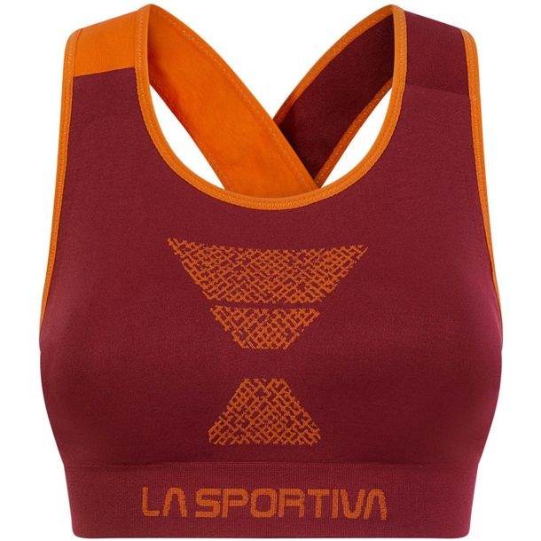La Sportiva Womens Focus Top Sports Bra, S Beet/ Lily Orange