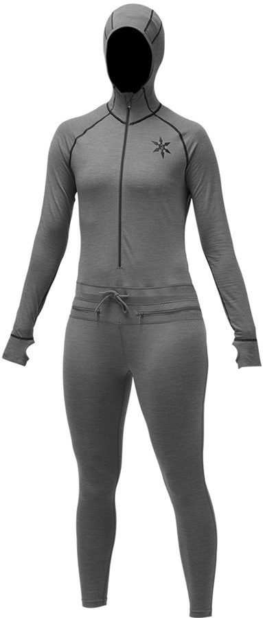 Airblaster Womens Merino Ninja Thermal Base Layer Suit, M Black