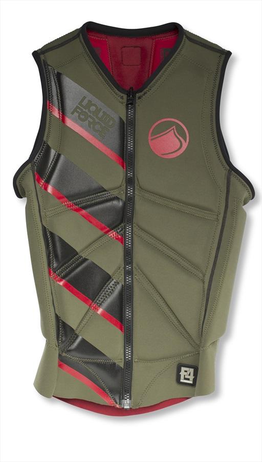 Liquid Force Z Cardigan Zip Wakeboard Impact Vest, S Green Red