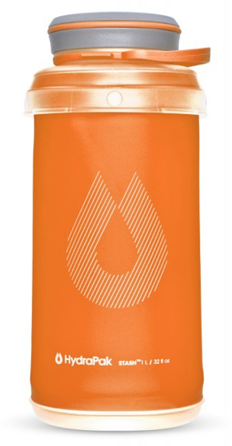 HydraPak Stash Bottle Collapsible Water Bottle, 1L Mojave Orange
