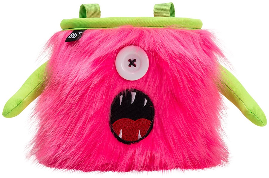 8b+ Kelly Rock Climbing Chalk Bag, Pink Fur, Green Trim