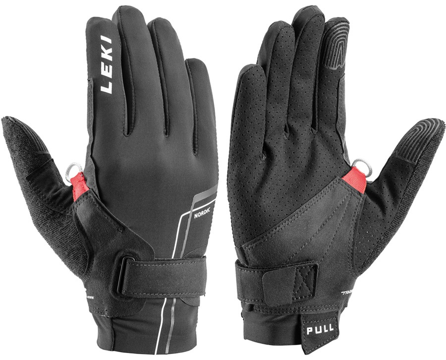 Leki Nordic Move Shark Trail Running & Walking Gloves, Large Black