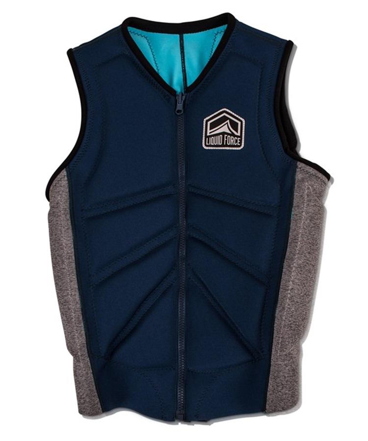 Liquid Force Z Cardigan Zip Wakeboard Impact Vest, M Navy Heather 2019