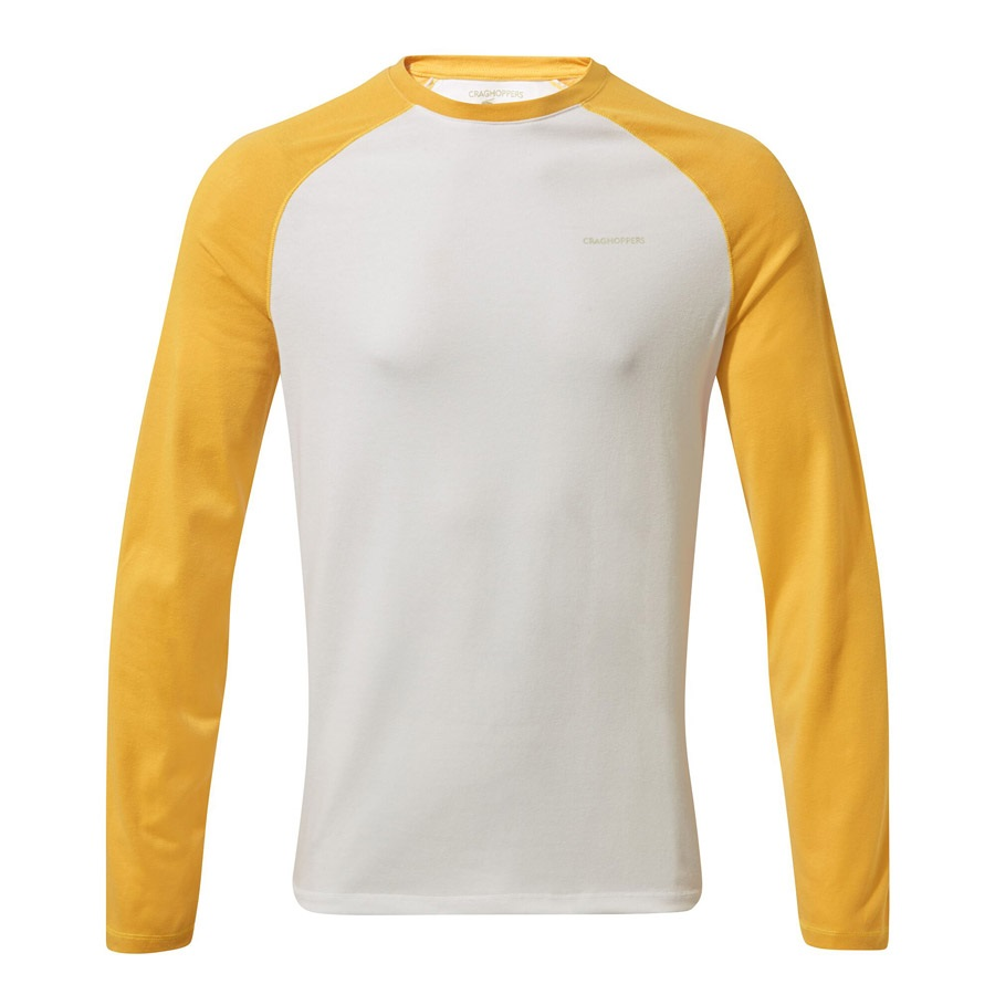 Craghoppers NosiLife Bayame II Long Sleeve T-shirt, XL Yellow & White
