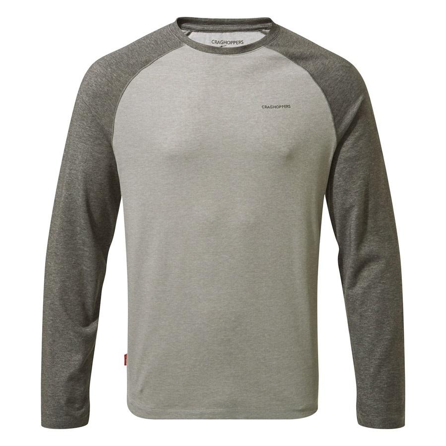 Craghoppers NosiLife Bayame II Long Sleeve T-shirt, L Grey & Black